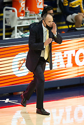 Feb 25, 2021; Berkeley, California, USA; California Golden Bears head coach Mark Fox calls instructions to his players during the second half of an NCAA college basketball game against the Oregon State Beavers at Haas Pavilion. Mandatory Credit: D. Ross Cameron-USA TODAY Sports