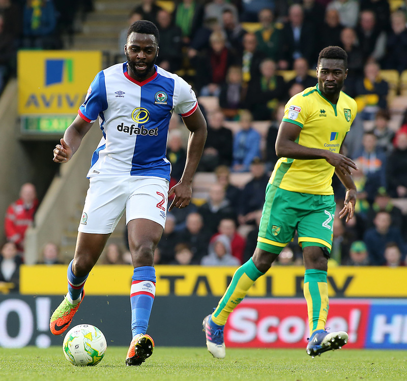 Blackburn Rovers' Hope Akpan in action during<br /> <br /> Photographer David Shipman/CameraSport<br /> <br /> The EFL Sky Bet Championship - Norwich City v Blackburn Rovers - Saturday 11th March 2017 - Carrow Road - Norwich<br /> <br /> World Copyright © 2017 CameraSport. All rights reserved. 43 Linden Ave. Countesthorpe. Leicester. England. LE8 5PG - Tel: +44 (0) 116 277 4147 - admin@camerasport.com - www.camerasport.com