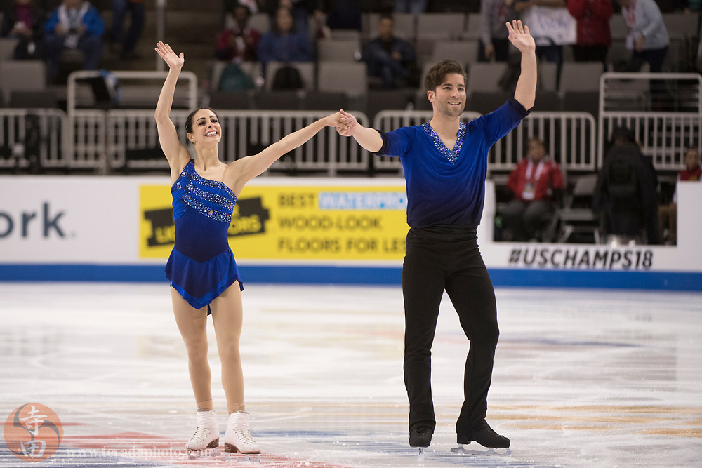 January 4, 2018; San Jose, CA, USA; Deanna Stellato-Dudek and Nathan Bartholomay performs in the pairs short program during the 2018 U.S. Figure Skating Championships at SAP Center.