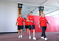 ARLAMOW, POLAND - MAY 30: Jakub Kwiatkowski and Robert Lewandowski during press conference at Arlamow Hotel during the second phase of preparation for the 2018 FIFA World Cup Russia on May 30, 2018 in Arlamow, Poland. MB Media