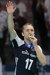 September 30, 2018 - Turin, Piedmont, Italy - Pawel Zatorski of Poland celebrate the victory after the final match between Brazil and Poland for the FIVB Men's World Championship 2018 at Pala Alpitour in Turin, Italy, on 30 September 2018. Poland won 3: 0 and it is confirmed world champion. (Credit Image: © Massimiliano Ferraro/NurPhoto/ZUMA Press)