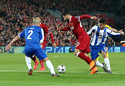 March 6, 2018 - Liverpool, U.S. - 6th March 2018, Anfield, Liverpool, England; UEFA Champions League football, round of 16, 2nd leg, Liverpool versus FC Porto; Emre Can of Liverpool takes on Maximiliano Pereira of Porto to make space to shoot at goal (Photo by Dave Blunsden/Actionplus/Icon Sportswire) ****NO AGENTS---NORTH AND SOUTH AMERICA SALES ONLY****NO AGENTS---NORTH AND SOUTH AMERICA SALES ONLY* (Credit Image: © Dave Blunsden/Icon SMI via ZUMA Press)