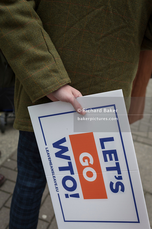On the day that the UK Parliament once again votes on an amendment of Prime Minister Theresa May's Brexit deal that requires another negotiation with the EU in Brussels, pro-Remain protesters gather outside the House of Commons, on 29th January 2019, in Westminster, London, England.