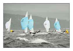 470 Class European Championships Largs - Day 2.Wet and Windy Racing in grey conditions on the Clyde...Men Finish with GBR826, Ben PALMER, Tim CARTER, Hayling Island Sailing Club...