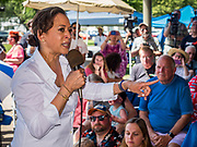 03 JULY 2019 - WEST DES MOINES, IOWA: US Senator KAMALA HARRIS (D-CA) speaks at the West Des Moines Democrats' annual 4th of July Picnic. Senator Harris attended the picnic to support her bid to be the Democratic nominee for the US presidency in 2020. Iowa hosts the first presidential selection event of the 2020 election cycle. The Iowa Caucuses are scheduled for Feb. 3, 2020.       PHOTO BY JACK KURTZ
