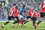 Portsmouth Forward, Omar Bogle (22) surrounded by Barnsley Defenders during the EFL Sky Bet League 1 match between Portsmouth and Barnsley at Fratton Park, Portsmouth, England on 23 February 2019.