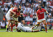 England's Courtney Lawes and Dylan Hartley combine to hold up Toby Faletau during the The Old Mutual Wealth Cup match England -V- Wales at Twickenham Stadium, London, Greater London, England on Sunday, May 29, 2016. (Steve Flynn/Image of Sport)