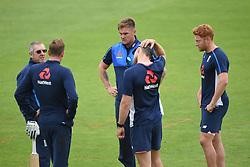 England head coach Trevor Bayliss (left), Jason Roy (centre) and Jonny Bairstow (right) during the nets session at Cardiff Wales Stadium.