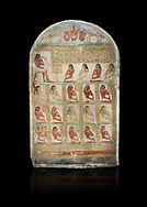 Ancient Egyptian family stele of chief scribe Horhernakht, son of Khety, Middle Kingdom, 2nd half of 12th Dynasty (1850-1759 BC).  Egyptian Museum, Turin. Grey background. Old Fund cat 1613. .<br /> <br /> If you prefer to buy from our ALAMY PHOTO LIBRARY  Collection visit : https://www.alamy.com/portfolio/paul-williams-funkystock/ancient-egyptian-art-artefacts.html  . Type -   Turin   - into the LOWER SEARCH WITHIN GALLERY box. Refine search by adding background colour, subject etc<br /> <br /> Visit our ANCIENT WORLD PHOTO COLLECTIONS for more photos to download or buy as wall art prints https://funkystock.photoshelter.com/gallery-collection/Ancient-World-Art-Antiquities-Historic-Sites-Pictures-Images-of/C00006u26yqSkDOM