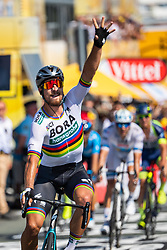July 8, 2018 - La Roche-Sur-Yon, FRANCE - 180708 Peter Sagan of Bora–Hansgrohe celebrates when finishing during stage two of Tour de France on July 8, 2018 in La Roche-sur-Yon. .Photo: Fredrik Varfjell / BILDBYRÃ…N / kod FV / 150116 (Credit Image: © Fredrik Varfjell/Bildbyran via ZUMA Press)