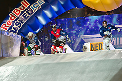 04-02-2012 SKATING: RED BULL CRASHED ICE WORLD CHAMPIONSHIP: VALKENBURG<br /> (L-R) Manuel Mehli SUI, Scott Croxall CAN<br /> ©2012-FotoHoogendoorn.nl / Peter Schalk
