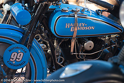 Jon Neuman's 1928 Harley-Davidson JD at the Old Town Museum in Burlington, Colorado for the hosted dinner stop during Stage 8 of the Motorcycle Cannonball Cross-Country Endurance Run, which on this day ran from Junction City, KS to Burlington, CO., USA. Saturday, September 13, 2014.  Photography ©2014 Michael Lichter.