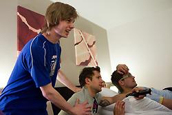 Ziga Jeglic, Mitja Robar and Marcel Rodman of Slovenian National Ice Hockey team in a massage room in the hotel Holiday Inn at IIHF 2011 World Championship Slovakia, on May 4, 2011 in Bratislava, Slovakia. (Photo By Vid Ponikvar / Sportida.com)