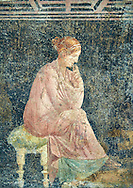 Detail of the Roman fresco wall painting of a women thinking from the Villa Arianna (Adriana), Stabiae (Stabia) near Pompeii , inv 9097, Naples National Archaeological Museum , .<br /> <br /> If you prefer to buy from our ALAMY PHOTO LIBRARY  Collection visit : https://www.alamy.com/portfolio/paul-williams-funkystock - Scroll down and type - Roman Fresco Naples  - into LOWER search box. {TIP - Refine search by adding a background colour as well}.<br /> <br /> Visit our ROMAN ART & HISTORIC SITES PHOTO COLLECTIONS for more photos to download or buy as wall art prints https://funkystock.photoshelter.com/gallery-collection/The-Romans-Art-Artefacts-Antiquities-Historic-Sites-Pictures-Images/C0000r2uLJJo9_s0
