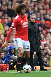 30th September 2017 - Premier League - Manchester United v Crystal Palace - Man Utd manager Jose Mourinho watches Marouane Fellaini of Man Utd - Photo: Simon Stacpoole / Offside.