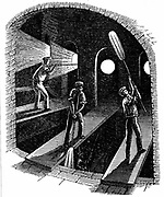 Blowing cylinder or sheet glass. Method of making sheet glass introduced into England by Lucas Chance in 1832. Larger sheets could be obtained  than by the crown glass method. Wood engraving c1860.