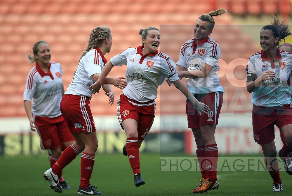 Sheffield United Ladies' Kimberley Brown (Centre) celebrates after she scores her sides first goal during the FA Women's Cup First Round match at Bramall Lane Stadium, Sheffield. Picture date: December 4th, 2016. Pic Clint Hughes/Sportimage