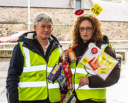 Pictured: Vickie Swailes (RSPB Scotland (grey hair)) and Lorraine Tulloch (Obesity Action )<br /><br />Food bank managers, unions, and farmers shared lunch while they met with MSPs on International Human Rights Day to discuss the upcoming Good Food Nation Bill<br /><br />Ger Harley | EEm 10 December 2019