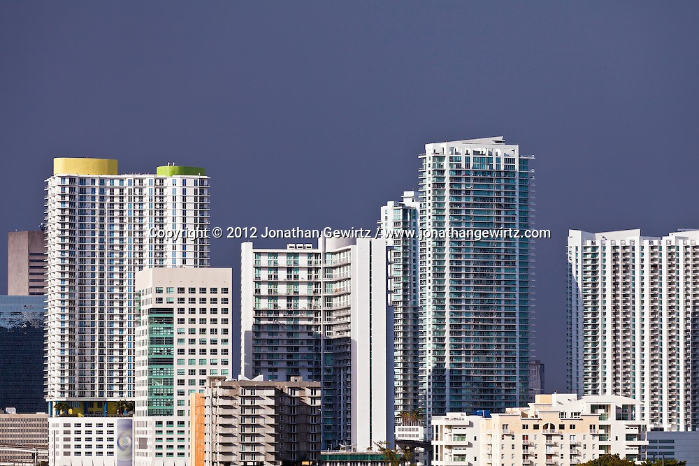 New condominiums and other high-rise buildings crowd the Miami bayfront skyline. WATERMARKS WILL NOT APPEAR ON PRINTS OR LICENSED IMAGES.