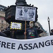 Protesters against WikiLeaks founder Julian Assange`s extradition to the USA