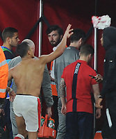 Football - 2016 / 2017 Premier League - Arsenal vs. Sunderland<br /> <br /> Alexis Sanchez of Arsenal throws his shirt away after the match into the crowd at The Emirates.<br /> <br /> COLORSPORT/ANDREW COWIE