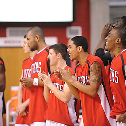 Mar 7, 2009; Piscataway, NJ, USA; Rutgers' underclassmen cheer for senior teammate Anthony Farmer during the senior celebration prior to Rutgers' senior day game against South Florida at the Louis Brown Athletic Center.  Rutgers won 45-42.