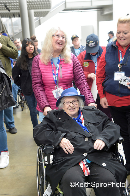 Norma Merrill, her daughter Jane and Honor Flight Maine Laurie Sidelinger at The Women's Memorial, Washington DC.