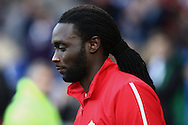Cardiff forward Kenwyne Jones takes to the field. Skybet football league championship match, Cardiff city v Rotherham Utd at the Cardiff city stadium in Cardiff, South Wales on Saturday 6th December 2014<br /> pic by Mark Hawkins, Andrew Orchard sports photography.