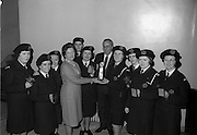 27/3/1966<br /> 3/27/1966<br /> 27 March 1966<br /> <br /> The Winning team from Crumlin Miss. A Meyler(leader); MissJ.O.Reilly(Dep. Ldr); Miss D. Buttner; Miss M. McEnroe; Miss A. Nolan; Mrs. N. Byford; Mr. V. Maginn; Mrs. M. Nolan(Sub)