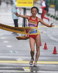 TAICANG, May 5, 2018  China's Liang Rui celebrates after winning the women's 50km competition at the IAAF World Race Walking Team Championships Taicang 2018 in Taicang, east China's Jiangsu Province, May 5, 2018. wll) (Credit Image: © Ji Chunpeng/Xinhua via ZUMA Wire)