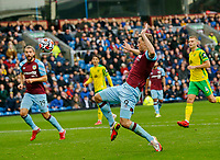 Football - 2021 / 2022 Premier League - Burnley vs. Norwich City - Turf Moor - Saturday 2nd October 2021<br /> <br /> Chris Wood of Burnley gets his toe to a ball in the area but sees his goal attempt go high over the bar, at Turf Moor.<br /> <br /> <br /> COLORSPORT/ALAN MARTIN