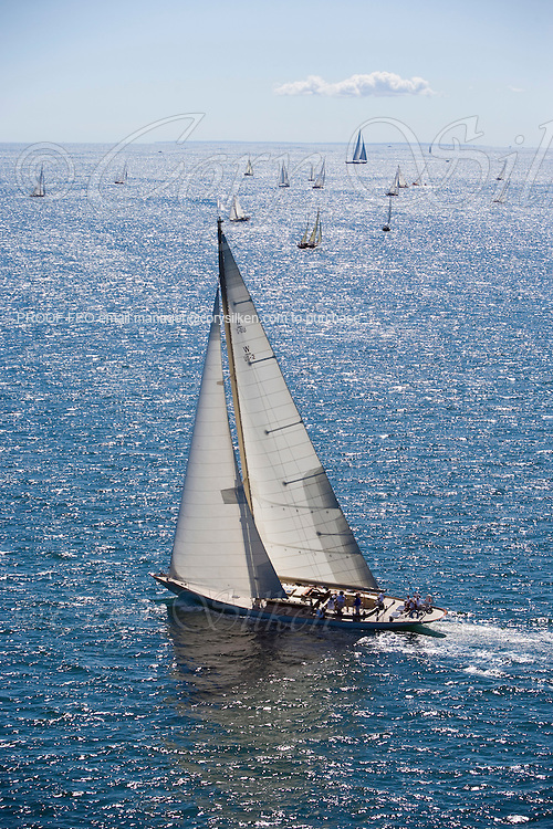 Aerial view of W Class White Wings racing at the Museum of Yachting Classic Yacht Regatta.