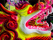25 AUGUST 2018 - GEORGE TOWN, PENANG, MALAYSIA: Dragons in the shrine built for the Hungry Ghost festival on the Lim Jetty on Ghost Day, the full moon day (or night) that falls in the middle of Hungry Ghost month. The Lim Jetty is one of several jetties in George Town that were created by members of Chinese clans who migrated to Penang during the British colonial period. The Ghost Festival, also known as the Hungry Ghost Festival is a traditional Taoist and Buddhist festival held in Chinese communities throughout Asia. Ghost Day, is on the 15th night of the seventh month (25 August in 2018). During Ghost Festival, the deceased are believed to visit the living. In many Chinese communities, there are Chinese operas and puppet shows and elaborate banquets are staged to appease the ghosts.   PHOTO BY JACK KURTZ
