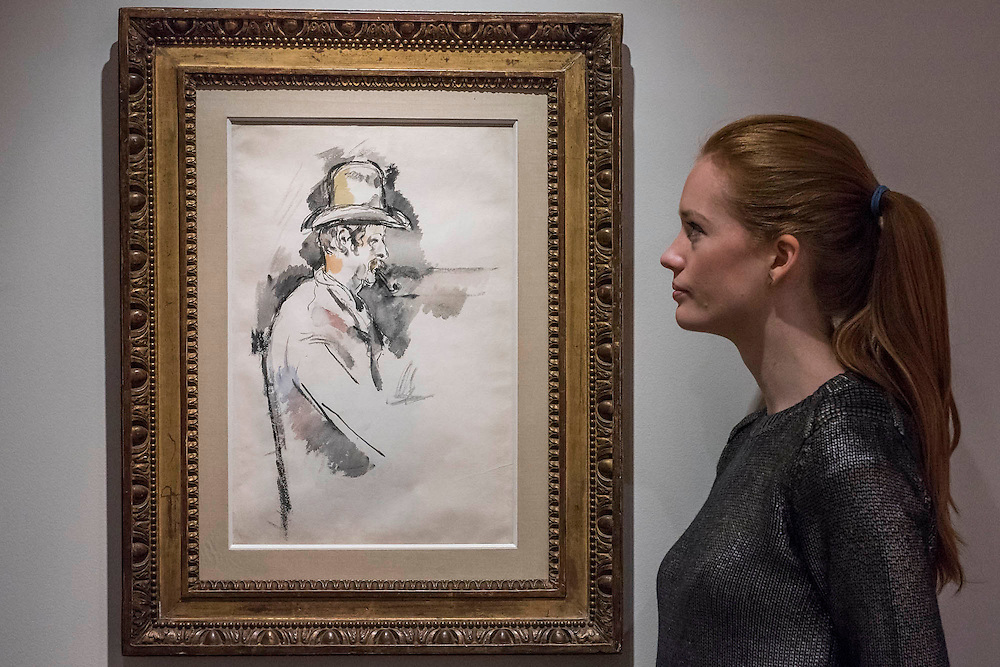PAUL CÉZANNE (1839-1906)<br /> L'homme à la pipe (Étude pour un joueur de cartes)<br /> (recto ) drawn in 1890-1892 (verso )<br /> Estimate: $18,000,000-25,000,000 - Christie's showcases  the London Post-War and Contemporary Art Evening Sale in October, alongside an exceptional selection of works from the  New York sales in November of Impressionist, Modern, Post-War And  Contemporary Art. The works will be on view to the public from Saturday 10 October to Saturday 17 October at Christie's King Street. The highlight is  Amedeo Modigliani's, 'Nu couché (Reclining  Nude)', painted in 1917-18, which has an estimate in the region of $100 million.