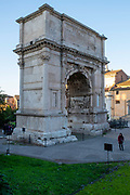 Image of the Arco di Tito from cultural Rome as the sun is setting on a December afternoon.