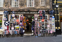 Tourist shop on High Street selling Scottish souvenirs and crafts in Edinburgh , Scotland ,United Kingdom.