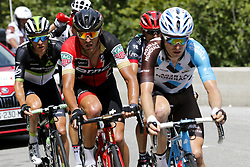July 8, 2017 - Station Des Rousses, FRANCE - Belgian Serge Pauwels of Dimension Data, Belgian Greg Van Avermaet of BMC Racing Team and Belgian Jan Bakelants of AG2R La Mondiale pictured in action during the eighth stage of the 104th edition of the Tour de France cycling race, 187,5km from Dole to Station des Rousses, France, Saturday 08 July 2017. This year's Tour de France takes place from July first to July 23rd. BELGA PHOTO DIRK WAEM (Credit Image: © Dirk Waem/Belga via ZUMA Press)