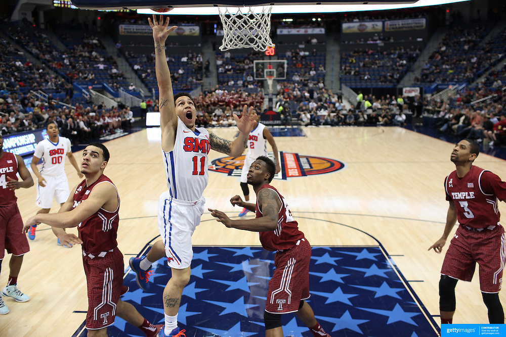 Nic Moore, SMU, drives to the basket during the Temple Vs SMU Semi Final game at the American Athletic Conference Men's College Basketball Championships 2015 at the XL Center, Hartford, Connecticut, USA. 14th March 2015. Photo Tim Clayton