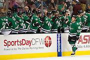 DALLAS, TX - OCTOBER 17:  Cody Eakin #20 of the Dallas Stars celebrates after a Stars goal against the San Jose Sharks on October 17, 2013 at the American Airlines Center in Dallas, Texas.  (Photo by Cooper Neill/Getty Images) *** Local Caption *** Cody Eakin