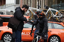 Sara Poidevin (CAN) signs an autograph at the 2020 Omloop Het Nieuwsblad - Elite Women, a 122.9 km road race from Gent to Ninove, Belgium on February 29, 2020. Photo by Sean Robinson/velofocus.com