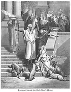 Lazarus at the Rich Man's House [Luke 16:20-21] From the book 'Bible Gallery' Illustrated by Gustave Dore with Memoir of Dore and Descriptive Letter-press by Talbot W. Chambers D.D. Published by Cassell & Company Limited in London and simultaneously by Mame in Tours, France in 1866