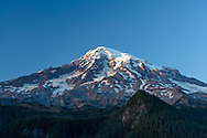 Mount Rainier at sunset as photographed from Ricksecker Point in Mount Rainier National Park, Washington State, USA