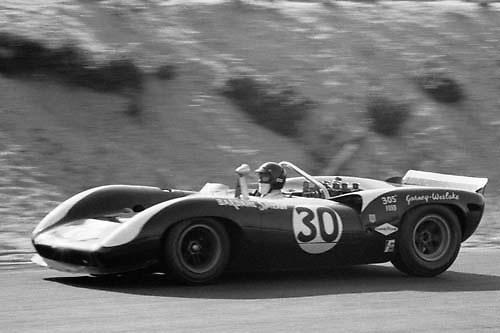 Dan Gurney's race-winning Lola T70-Ford 302 during 1966 Bridgehampton Can-Am, New York state