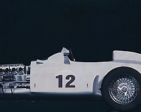 The Mercedes-Benz W 196 R designed for the 1954 season met all the demands of the new Grand Prix formula decreed by the sport's governing body, the CSI (Commission Sportive Internationale): a capacity of 750 cc with or 2500 cc without supercharger, free choice of gas mixture, a racing distance of 300 kilometres or a minimum of three hours. The streamlined version was completed first because the Reims race kicking off the season permitted very high speeds. After that there was also a version with exposed wheels. –<br /> <br /> <br /> BUY THIS PRINT AT<br /> <br /> FINE ART AMERICA<br /> ENGLISH<br /> https://janke.pixels.com/featured/mercedes-w196-silver-arrow-1954-jan-keteleer.html<br /> <br /> WADM / OH MY PRINTS<br /> DUTCH / FRENCH / GERMAN<br /> https://www.werkaandemuur.nl/nl/shopwerk/Mercedes-W196-Zilveren-Pijl-1954-B-amp-W/545145/134