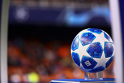 December 12, 2018 - Valencia, Spain - Champions League official ball  before  UEFA Champions League Group H between Valencia CF and Manchester United at Mestalla stadium  on December 12, 2018. (Photo by Jose Miguel Fernandez/NurPhoto) (Credit Image: © Jose Miguel Fernandez/NurPhoto via ZUMA Press)