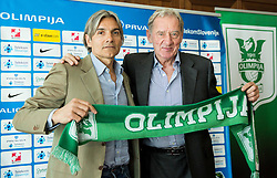 Rodolfo Vanoli with president Milan Mandaric during presentation of a new head coach of NK Olimpija, on April 22, 2016 in Austria Trend Hotel, Ljubljana, Slovenia. Photo by Vid Ponikvar / Sportida