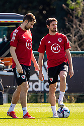 CARDIFF, WALES - Tuesday, September 7, 2021: Wales' Ben Davies (L) and Joe Allen during a training session at the Vale Resort ahead of the FIFA World Cup Qatar 2022 Qualifying Group E match between Wales and Estonia. (Pic by David Rawcliffe/Propaganda)