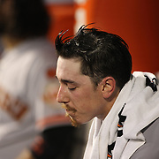 Pitcher Tim Lincecum, San Francisco Giants, in the dugout while pitching during the New York Mets Vs San Francisco Giants MLB regular season baseball game at Citi Field, Queens, New York. USA. 11th June 2015. Photo Tim Clayton