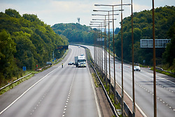 © Licensed to London News Pictures. 19/09/2017. HANSLOPE, UK.  General view of the closed carriageway of the M1 near Hanslope between junctions 15 and 14. The road has been closed since 7:30am this morning as the police deal with a suspicious item found under a bridge. The location is very near to Hanslope Park, home to Her Majesty's Government Communication Office (HMGCC0, part of FCO.  Photo credit: Cliff Hide/LNP