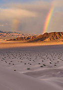Double Rainbow over Saratoga Spring from Ibex Dunes, Death Valley National Park, California